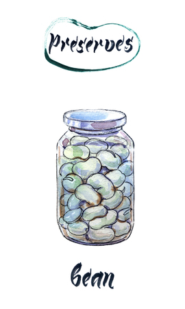 Boiled white kidney beans in glass jar, watercolor hand drawn, illustration