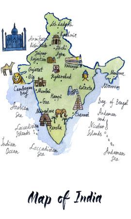 Cartoon Map Of Attractions Of Tunisia Hand Drawn Illustration