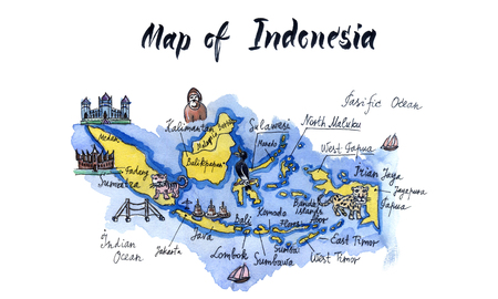 Cartoon map of attractions of indonesia, hand drawn, illustration Stock Photo