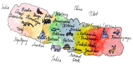 Cartoon map of attractions of Nepal, hand drawn, illustration