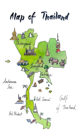 Cartoon map of attractions of Thailand, hand drawn, illustration