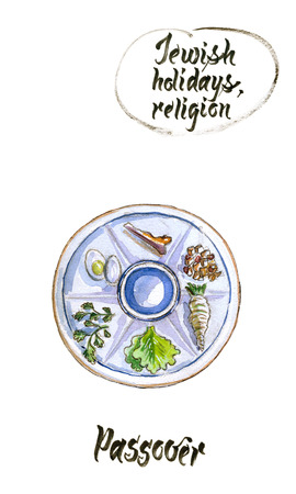 Passover seder plate, Jewish holiday, hand drawn, watercolor illustration