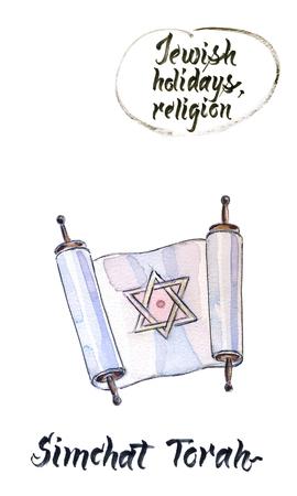 Concept of Judaic holiday Simchat torah, old testament, hand drawn, illustration Stock Photo