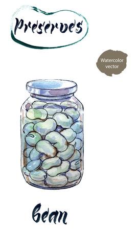 Boiled white kidney beans in glass jar, watercolor hand drawn, vector illustration Illustration