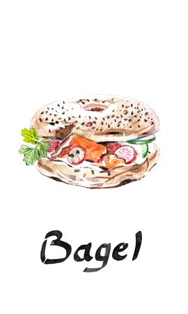 Bagel bakery, flour product beygl, beigel, baigiel, fast food american bagel, with ham, tomatoes, onions, salad leaves and cheese - hand drawn watercolor illustration