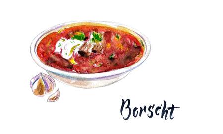 Watercolor beetroot soup. Hand drawn watercolor borsch with garlic, borscht with sour cream. Ukrainian cuisine. National dish.