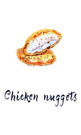 One whole and half chicken nuggets - hand drawn watercolor illustration