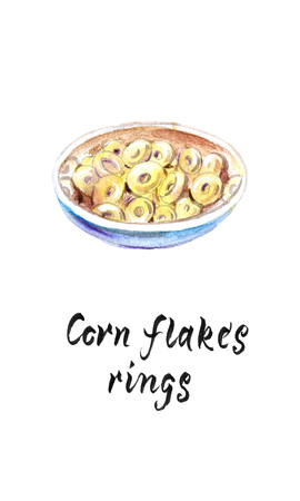 Bowl of whole grain cereal corn flakes rings, watercolor hand drawn illustration Stok Fotoğraf