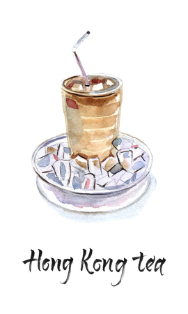 Hong kong iced tea in glass with tube and saucer, watercolor hand drawn illustration