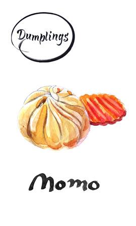 ネパールの伝統的な餃子のモモとニンジンのピース、水彩画イラスト