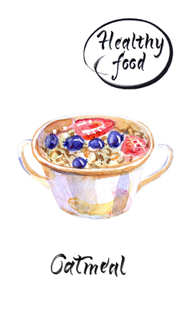 Oatmeal with sweet berries in a white bowl with two handles, watercolor hand drawn illustration with calligraphy