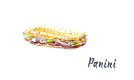 Panini grilled sandwich, watercolor hand drawn illustration with calligraphy Stock Photo