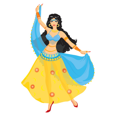 Oriental dancer with black hair, vector illustration