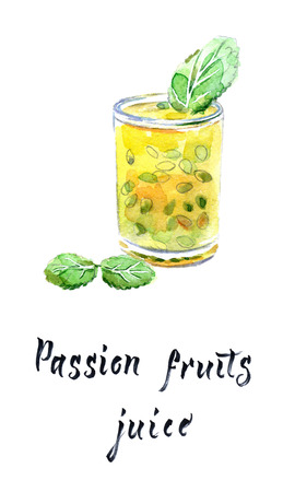 Passion fruit juice in glass with mint leaves, watercolor illustration, raster illustration Archivio Fotografico