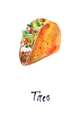 Mexican taco with meat and vegetables, watercolor illustration