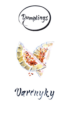 Dumplings, filled with beef meat and served with fried onion. Varenyky, vareniki, pierogi, pyrohy. Dumplings with filling. Watercolor illustration Stock Photo