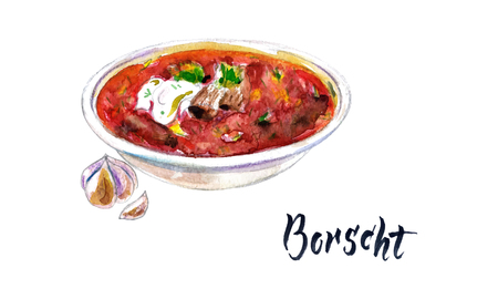 Watercolor beetroot soup. Hand drawn vector watercolor borsch with garlic, borscht with sour cream. Ukrainian cuisine. National dish. Ilustracja