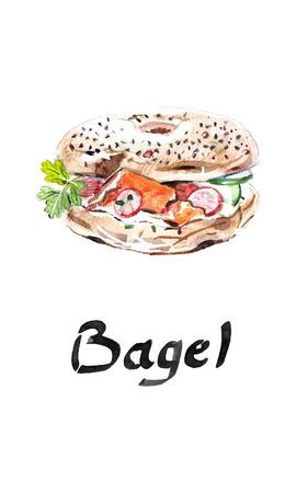 Boulangerie de bagel, produit de farine beygl, beigel, baigiel, bagel américain de restauration rapide, avec jambon, tomates, oignons, feuilles de salade et fromage - illustration aquarelle vectorielle dessinés à la main Vecteurs