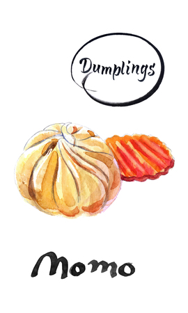 Nepalese traditional dumpling momo and piece of carrot, watercolor vector illustration  イラスト・ベクター素材