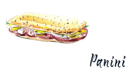 Panini grilled sandwich, watercolor vector illustration with calligraphy Illustration