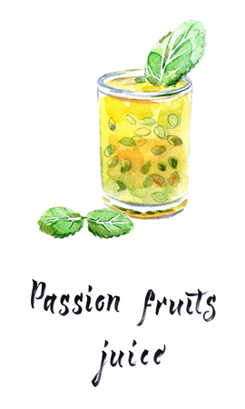 Passion fruit juice in glass with mint leaves, watercolor illustration, vector illustration