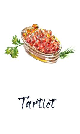 Tartlet with red caviar. Gourmet food, appetizer. Close-up salmon caviar. Delicatessen. Gourmet food. Seafood, watercolor vector illustration