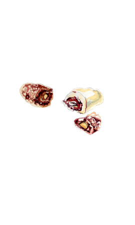 Chocolate covered dates stuffed with almonds - watercolor food illustration