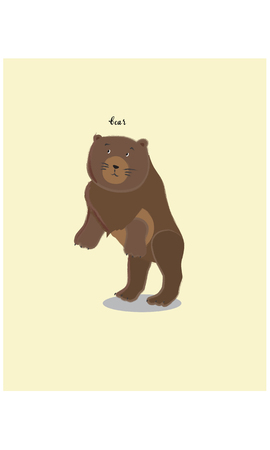 Brown standing bear cartoon character vector