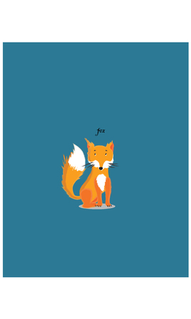 Red sitting fox cartoon character vector