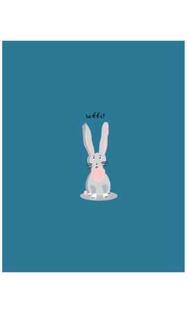 White sitting rabbit cartoon character vector