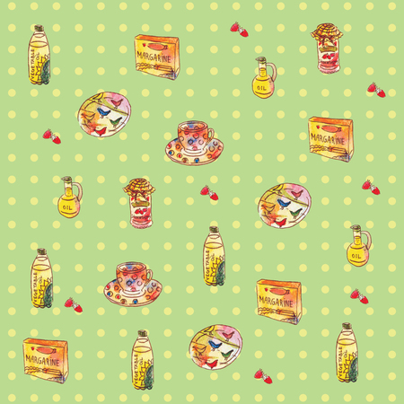 Ingredients for cooking, seamless pattern, vector illustration Ilustrace