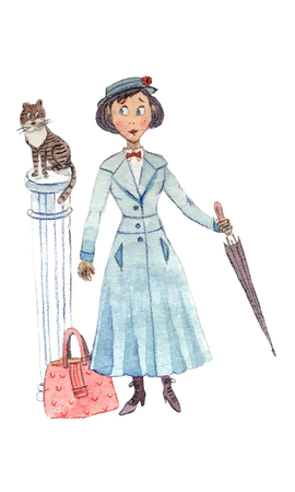 Cartoon Illustration of baby sitter with umbrella, suitcase and cat on a column - vector illustration by pencils and watercolor
