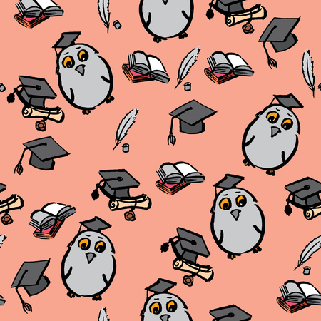 Hand drawn seamless pattern of graduation day - vector Illustration Stock Illustratie