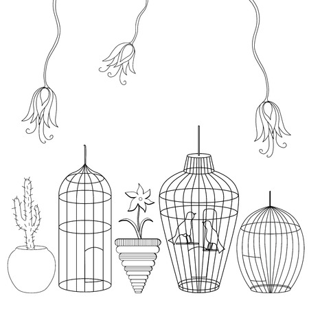 Different cages and flowers, vector black and white illustration