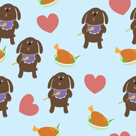 Dog dreams about meat, vector illustration, seamless pattern