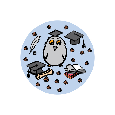 Hand drawn of graduation day in circle - vector Illustration