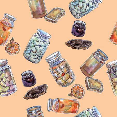 Seamless pattern of different preserves, watercolor illustration