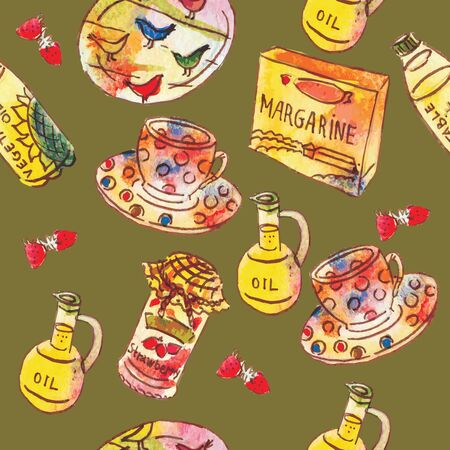 Seamless pattern of ingredients for cooking, hand drawn watercolor illustration