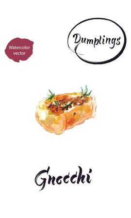 Watercolor vector illustration of Italian dumpling Gnocchi