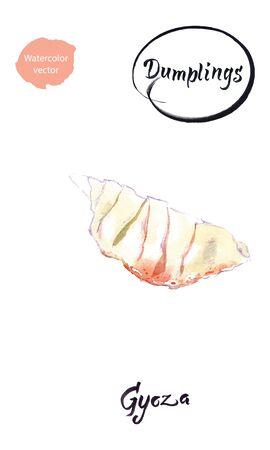 Watercolor vector illustration of Asian dumpling Gyoza