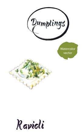 Watercolor vector illustration of Italian dumpling Ravioli