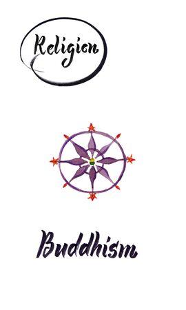 Watercolor illustration of world religions-Buddhism 版權商用圖片