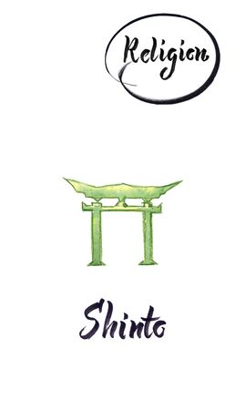 Watercolor illustration of world religions-Shinto Imagens
