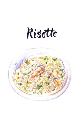 Watercolor illustration of risotto, Italian food Banque d'images - 137304951