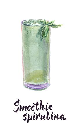 Watercolor illustration of glass of spirulina