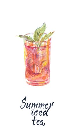 Watercolor illustration of glass of summer iced tea with mint Imagens