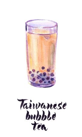 Watercolor illustration of glass of Taiwanese bubble tea Imagens