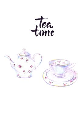 Watercolor illustration of cup and kettle of black tea, tea time Imagens