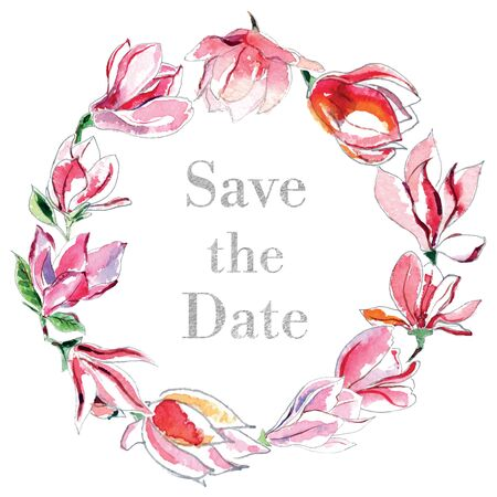 Save the date, watercolor illustration of wreath from different magnolias on white background