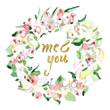 Me and you. Rose flower wreath. Floral circle border (frame). Design for invitation, wedding or greeting cards. Watercolor illustration    Imagens